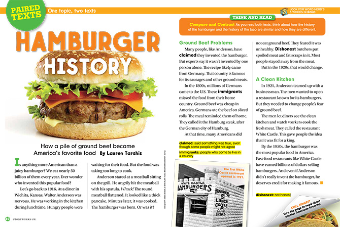 Hamburger History Tacos Take Over Reading Passage Grade 2